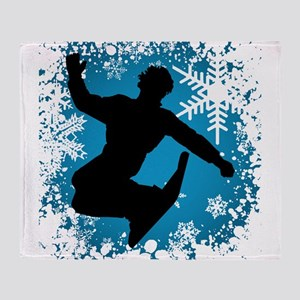SNOWBOARDING (Blue) Throw Blanket