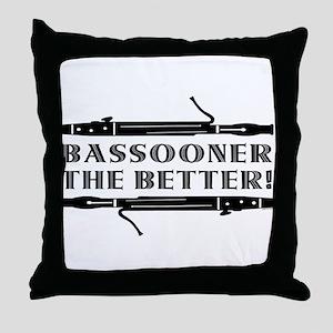 Bassooner the Better (h) Throw Pillow