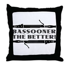 Bassooner the Better (h) Throw Pillow