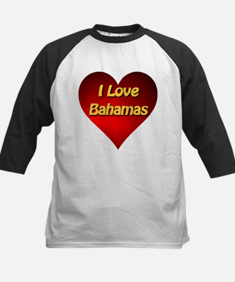 I Love Bahamas Kids Baseball Jersey