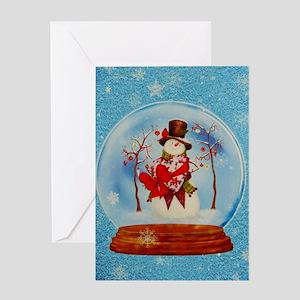 Snowman Snowglobe Greeting Cards