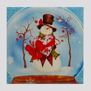 Snowman Snowglobe Tile Coaster