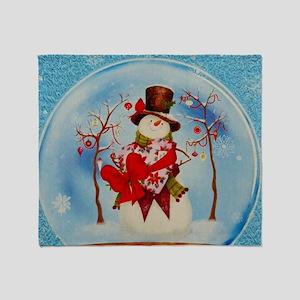 Snowman Snowglobe Throw Blanket