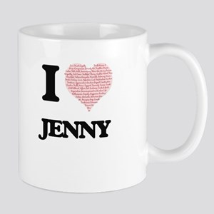 I love Jenny (heart made from words) design Mugs