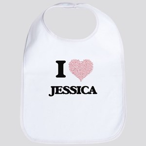 I love Jessica (heart made from words) design Bib