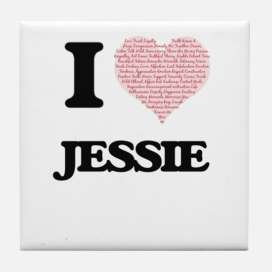 I love Jessie (heart made from words) Tile Coaster