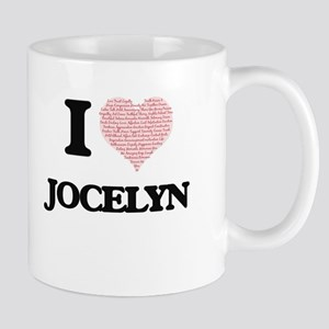 I love Jocelyn (heart made from words) design Mugs