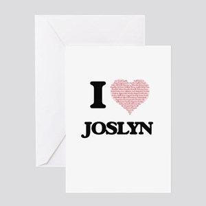 I love Joslyn (heart made from word Greeting Cards
