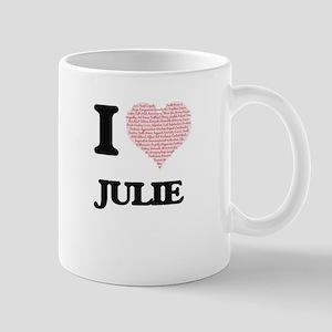 I love Julie (heart made from words) design Mugs