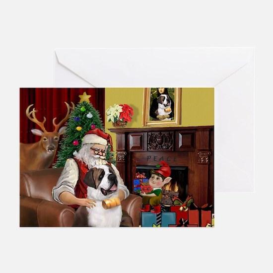 Santa's Saint Bernard Greeting Cards (Pk of 20)