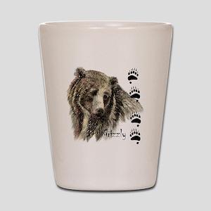 Watercolor Grizzly Bear Tracks Animal art Shot Gla