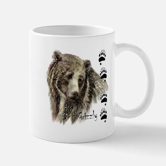 Watercolor Grizzly Bear Tracks Animal art Mugs