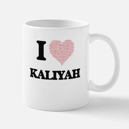 I love Kaliyah (heart made from words) design Mugs