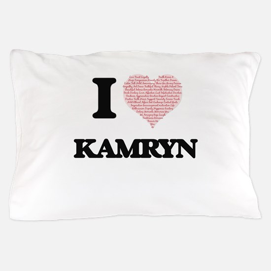 I love Kamryn (heart made from words) Pillow Case