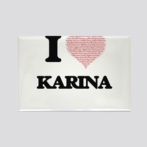 I love Karina (heart made from words) desi Magnets
