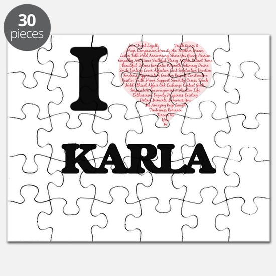 I love Karla (heart made from words) design Puzzle