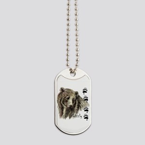 Watercolor Grizzly Bear Tracks Animal art Dog Tags