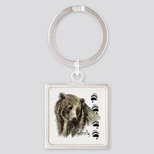 Watercolor Grizzly Bear Tracks Animal Keychains
