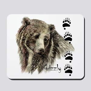 Watercolor Grizzly Bear Tracks Animal art Mousepad