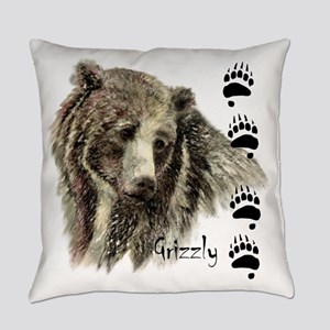 Watercolor Grizzly Bear Tracks Everyday Pillow