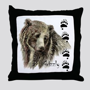Watercolor Grizzly Bear Tracks Animal art Throw Pi