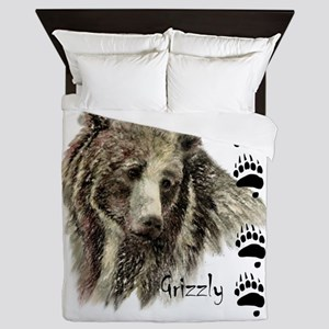 Watercolor Grizzly Bear Tracks Animal Queen Duvet
