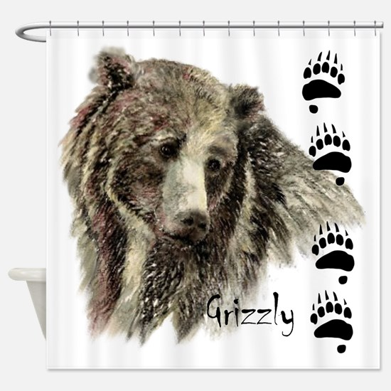 Watercolor Grizzly Bear Tracks Animal art Shower C