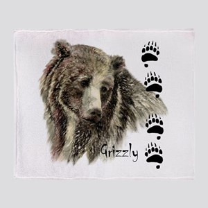Watercolor Grizzly Bear Tracks Throw Blanket