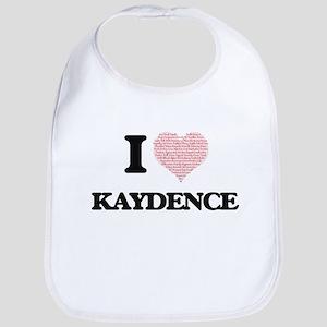 I love Kaydence (heart made from words) design Bib