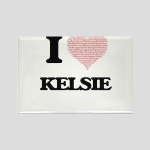 I love Kelsie (heart made from words) desi Magnets