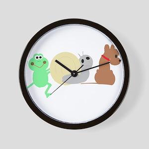frog, snail, puppy dog Wall Clock