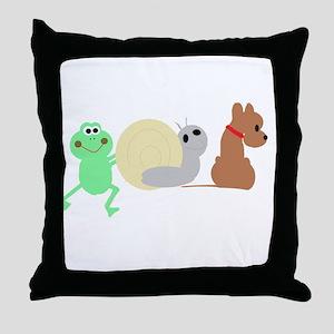 frog, snail, puppy dog Throw Pillow