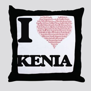I love Kenia (heart made from words) Throw Pillow