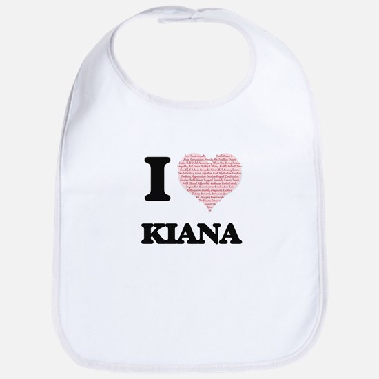 I love Kiana (heart made from words) design Bib