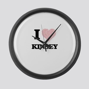 I love Kinsey (heart made from wo Large Wall Clock