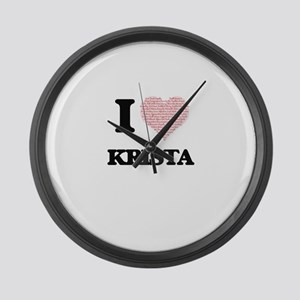 I love Krista (heart made from wo Large Wall Clock