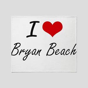 I love Bryan Beach Texas artistic d Throw Blanket