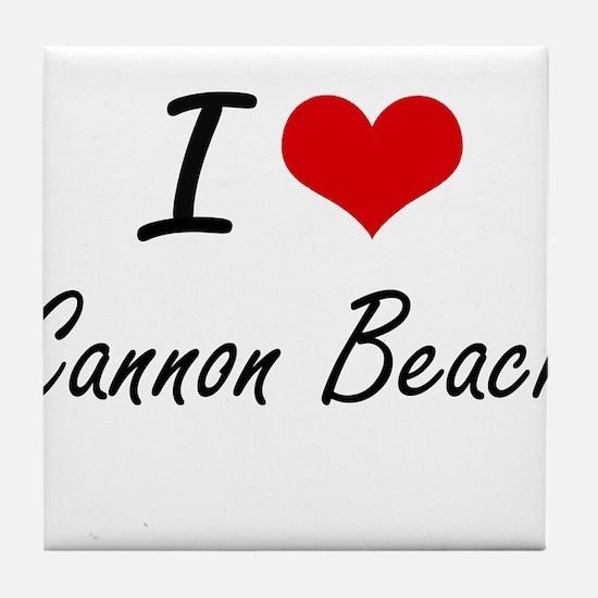 I love Cannon Beach Oregon artistic d Tile Coaster