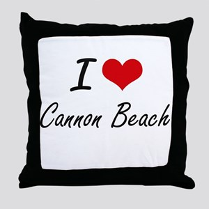 I love Cannon Beach Oregon artistic d Throw Pillow