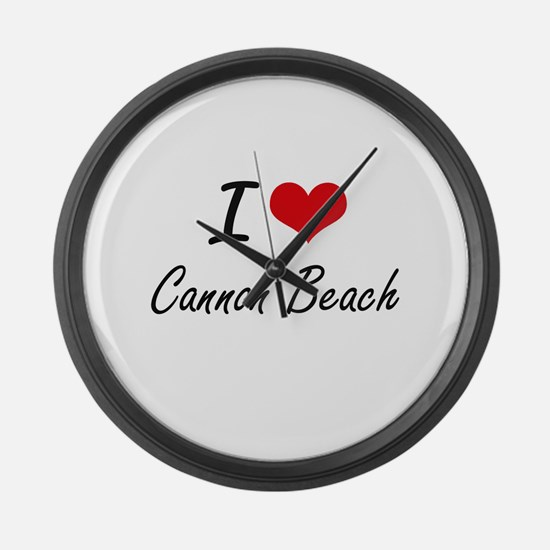 I love Cannon Beach Oregon artist Large Wall Clock