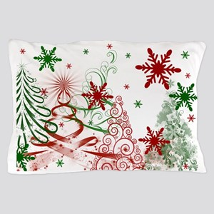 Abstract Green and Red Christmas Trees Pillow Case