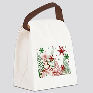 Abstract Green and Red Christmas Canvas Lunch Bag