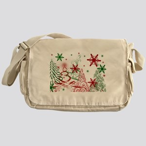 Abstract Green and Red Christmas Tre Messenger Bag