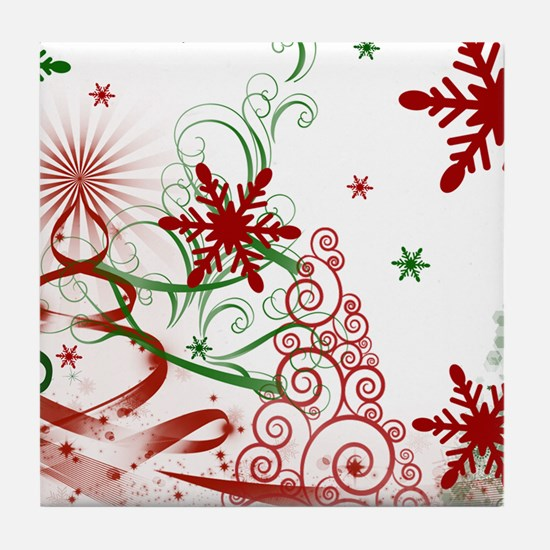 Abstract Green and Red Christmas Tree Tile Coaster