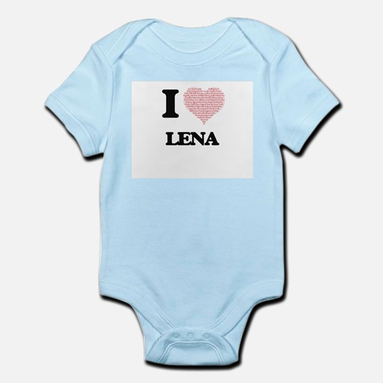 I love Lena (heart made from words) desi Body Suit