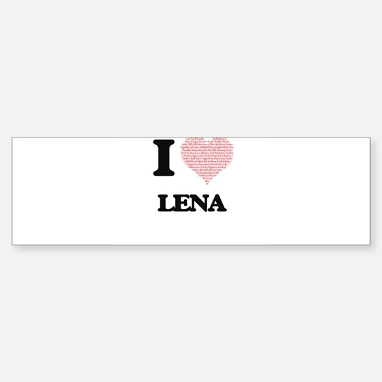 I love Lena (heart made from words) Bumper Car Car Sticker