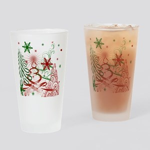 Abstract Green and Red Christmas Tr Drinking Glass