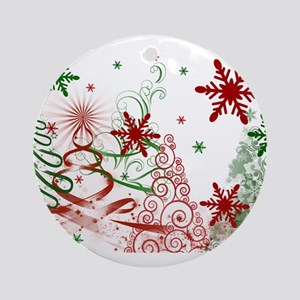 Abstract Green and Red Christmas Tr Round Ornament