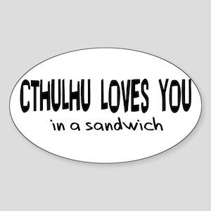 Cthulhu Loves You Oval Sticker
