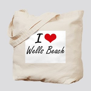 I love Wells Beach Maine artistic design Tote Bag